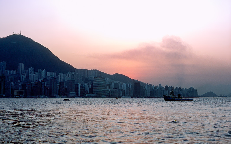 Hong Kong harbor just after sunset - 1980