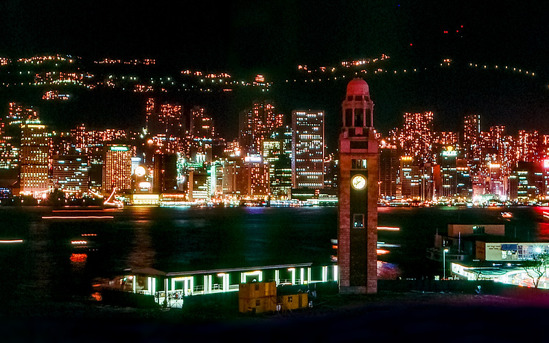 Hong Kong harbor - View from the YMCA roof top - 1984