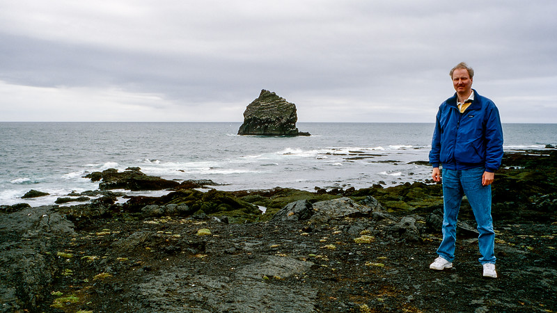 Barry along Iceland's volcanic rock shore