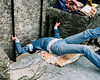 Barry 'kissing' the Blarney Stone near Cork