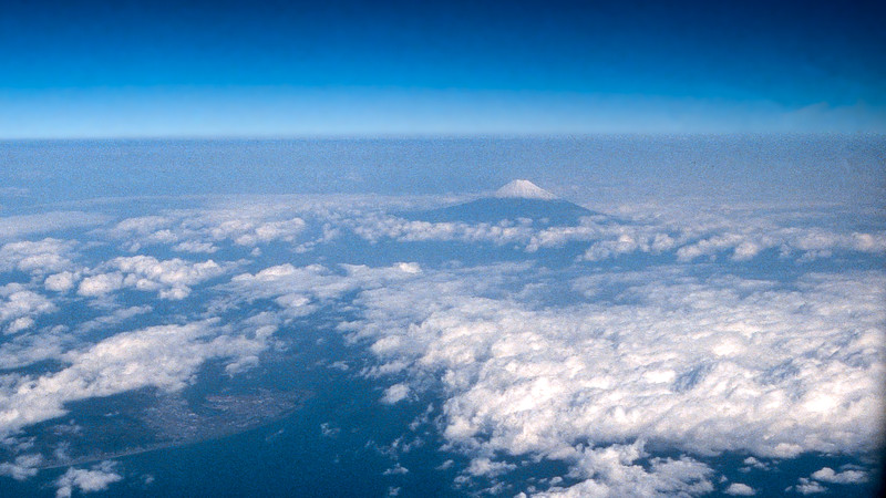 Aerial view of Mt. Fuji on our flight home - 1985
