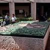 Mercedes by a model of the Yucatan Chichen Itza site