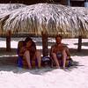 Mercedes & Barry under umbrella in Acapulco - 1982