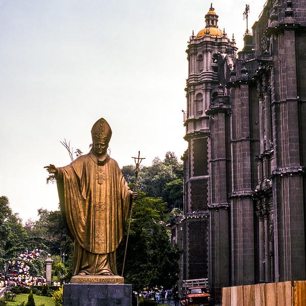 Mexico City- John Paul II statue by Basilica de Guadalupe - 1982