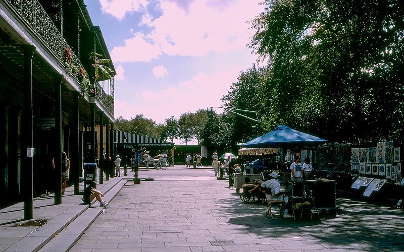 New Orleans, St. Ann street - Approaching Café du Monde - 1997