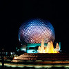 Epcot 1984 - Spaceship Earth at night