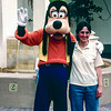 Disney World 1991 - Goofy (left) hangs out with Mecedes
