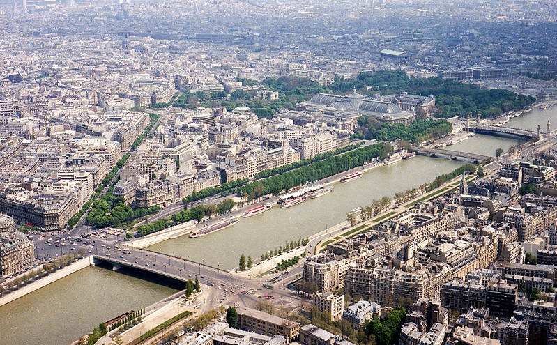 Paris - View of the Seine & city from the Eiffel Tower - 1979