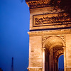 Paris - The Arc de Triomphe & Eiffel Tower at night