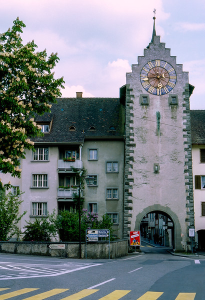 Schaffhausen - Medieval wall clock on the tower