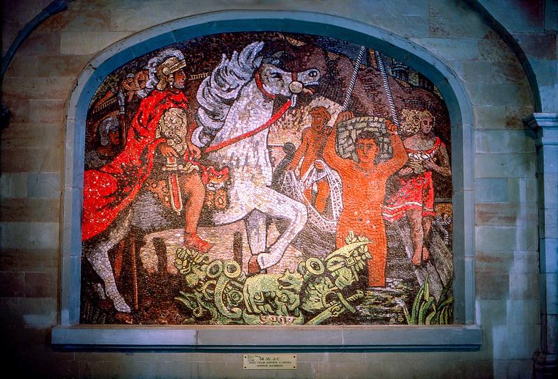 Julius Caesar arriving in Geneva - Mosaic by Alexandre Cingria (1928)
