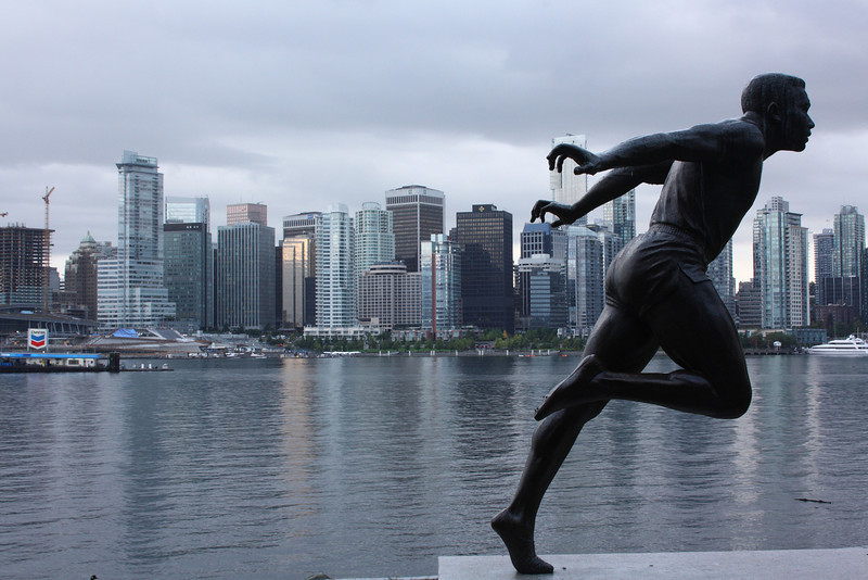 Harry Winston Jerome statue and the Vancouver skyline, Canada