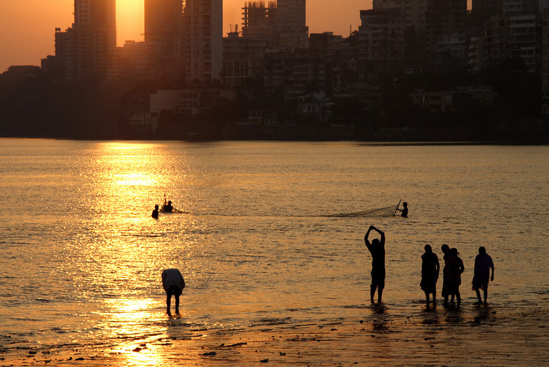 Sunset, Chowpatty Beach, Mumbai