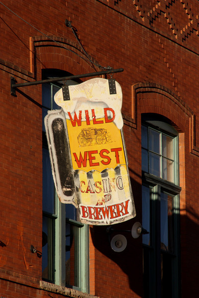 Sign for the Wild West casino and brewery, Cripple Creek, Colorado, USA