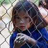 Young girl peers through fence, Sapa, Vietnam