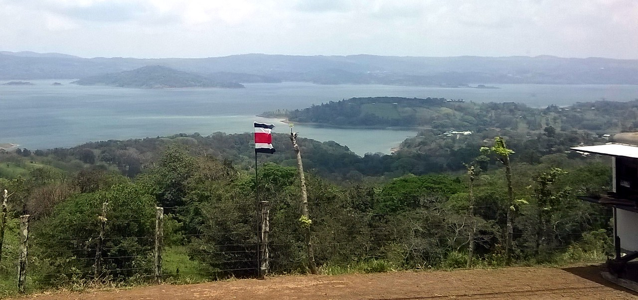 The Costa Rican flag flying over it all.