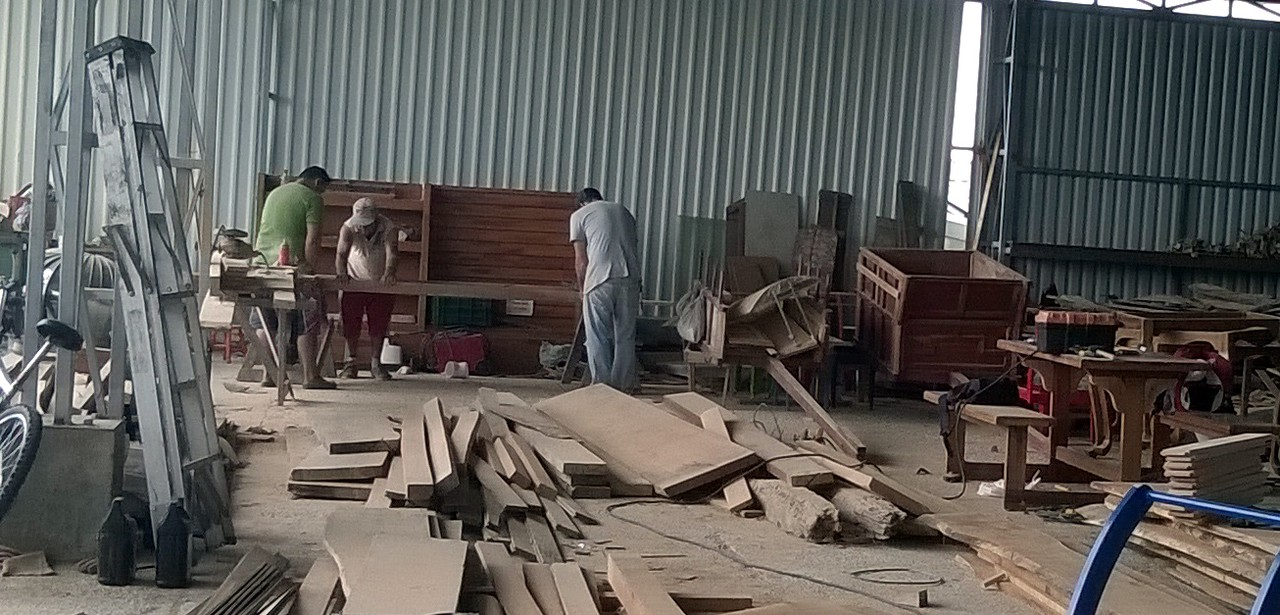 The woodworking area where the carts are created.