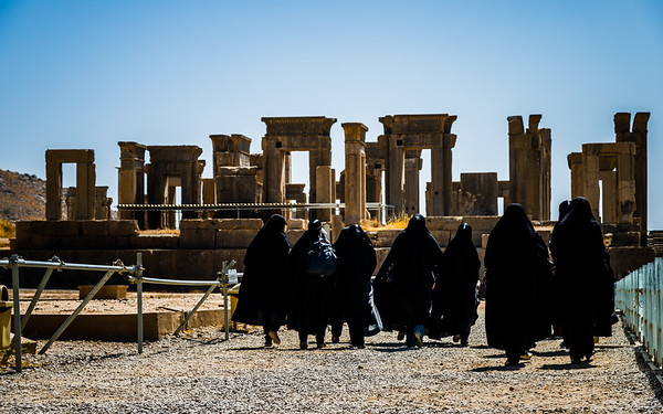 Black cloaks at Apadana | Persepolis