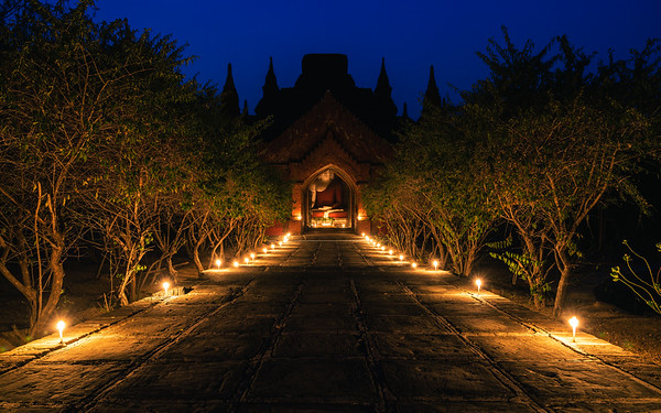 candlelit temple in old Bagan