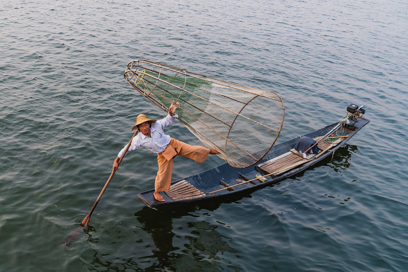 One-leg rowing fisherman