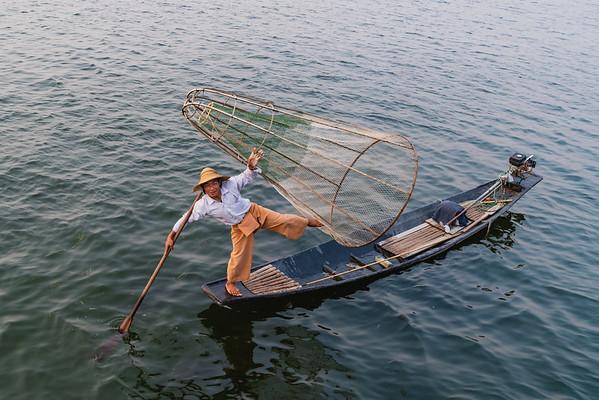 One-leg rowing fisherman