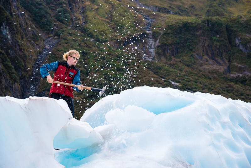Deano breaking the ice with an ice axe