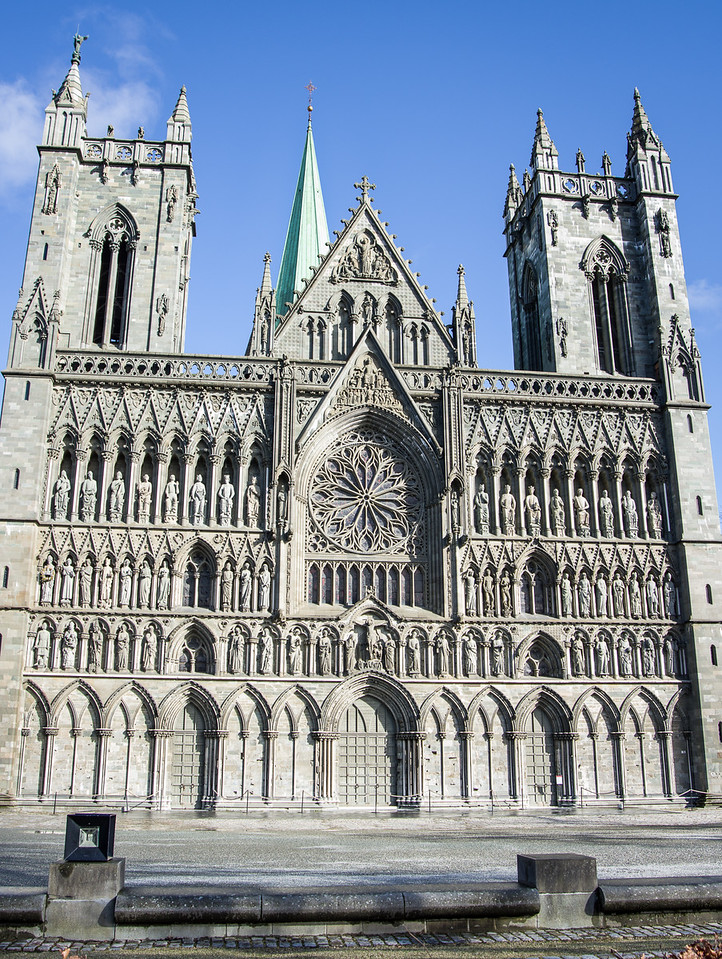 Majestic Nidaros Cathedral in Trondheim, Norway's 3rd largest city.