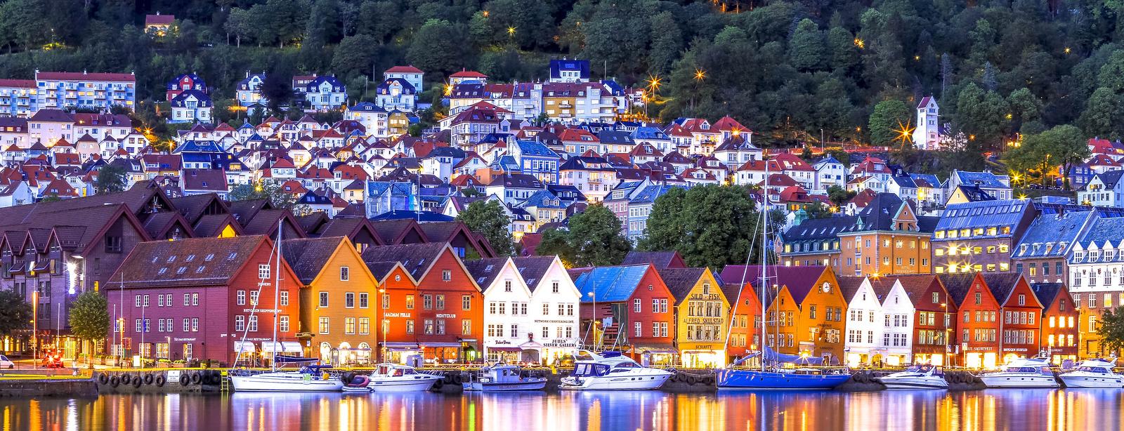 Bergen's Bryggen, oldest part of Bergen. Red building on left is our hotel.