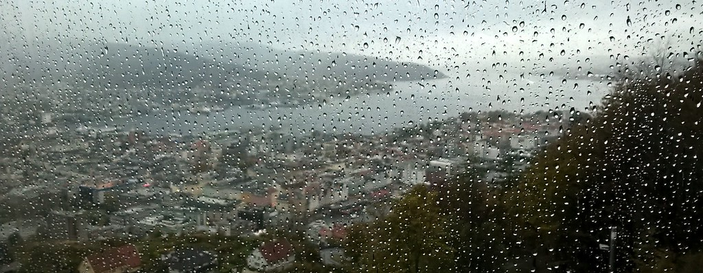 Bergen from the tram up to Mount Floyen. It is a rainy city.