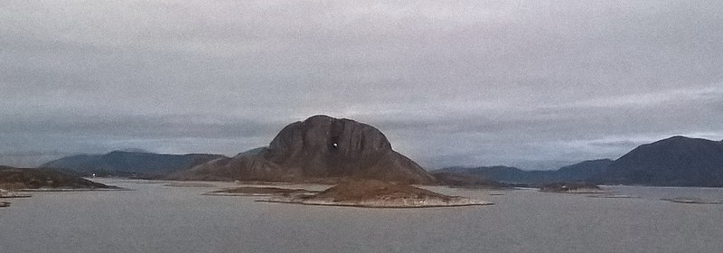 This is a hole-y mountain. Can you see the hole?