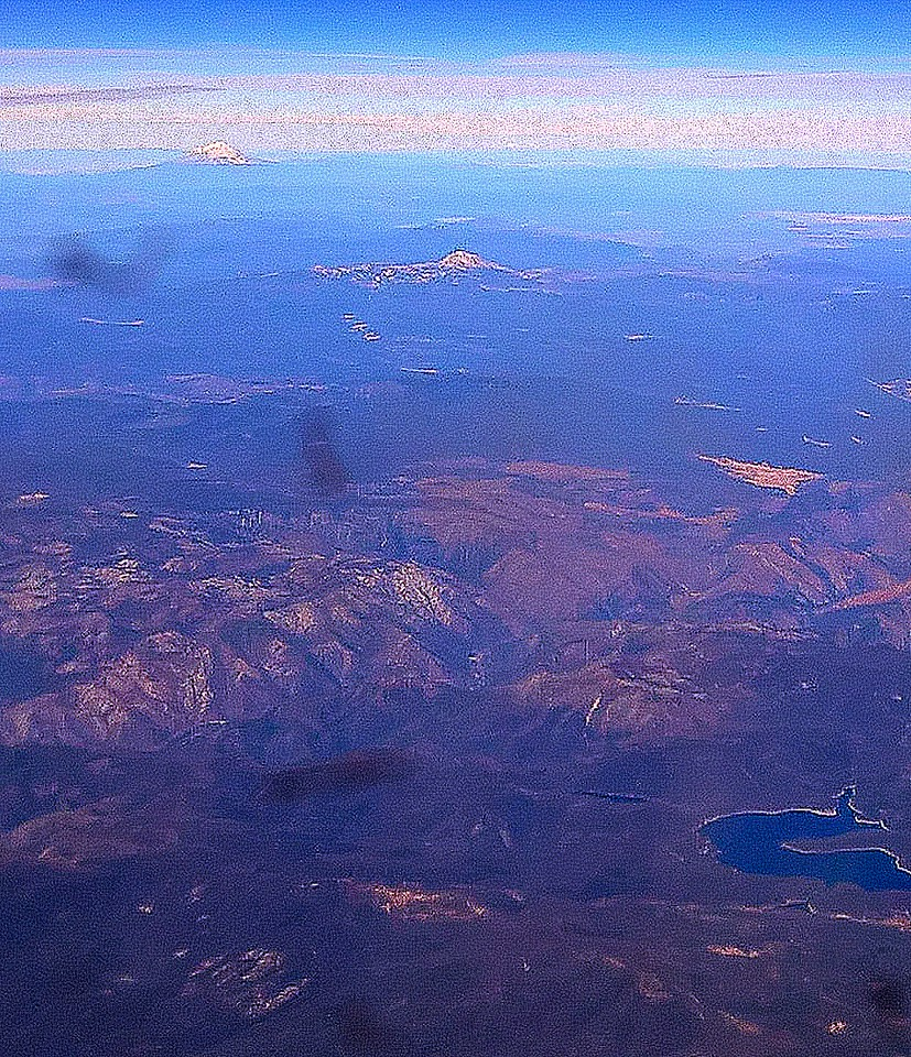 And we are almost home. That is Mt. Shasta and Lassen through an airplane window.