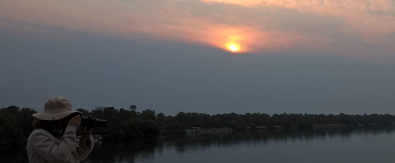 Sunset over the Zambezi River.