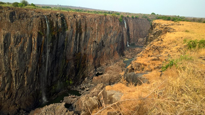 However, since it was the end of the dry season, only half of the falls were going over the cliffs.