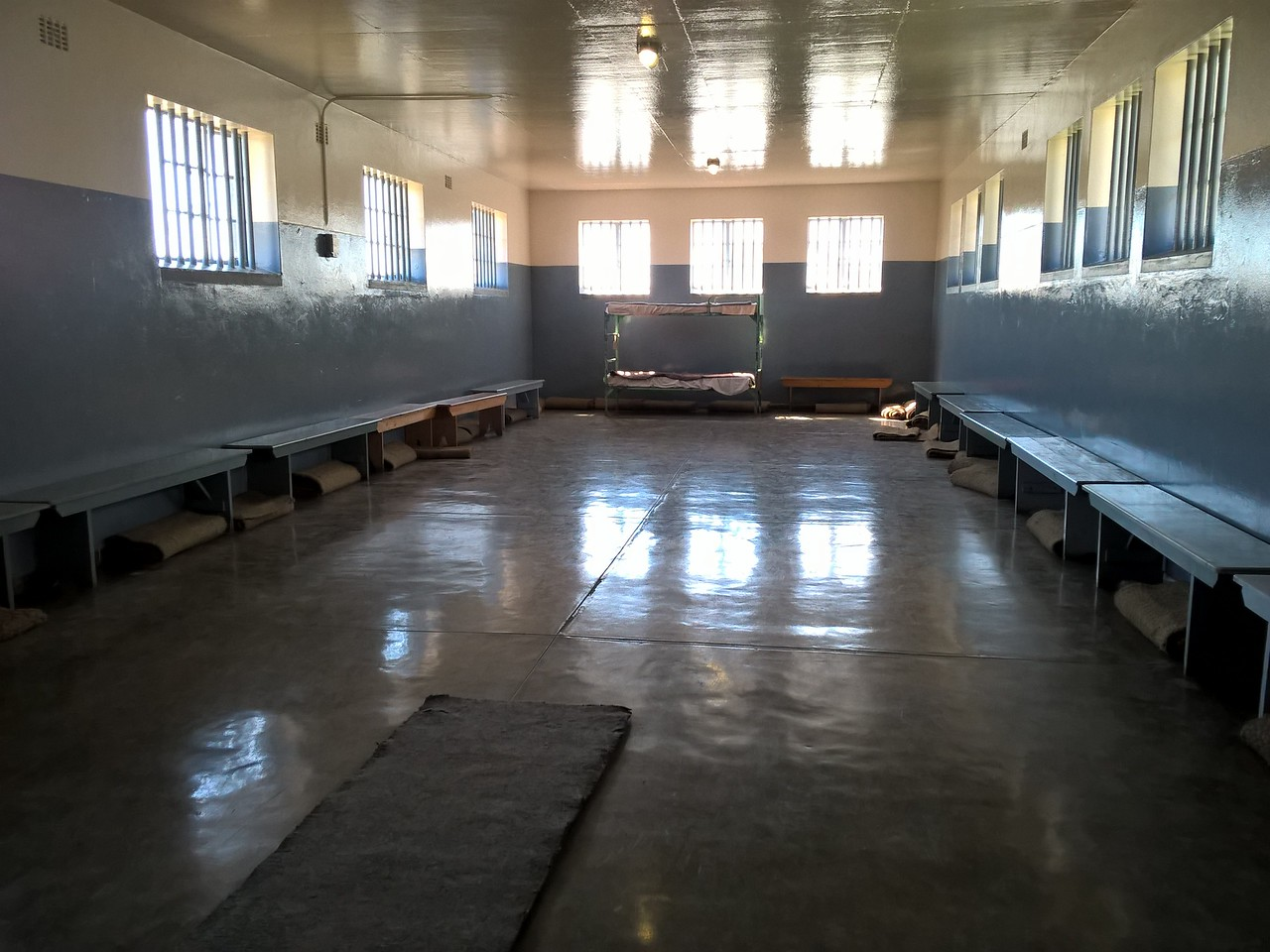 Some of the convicts were housed in large rooms with bedding on the floor for the night time.