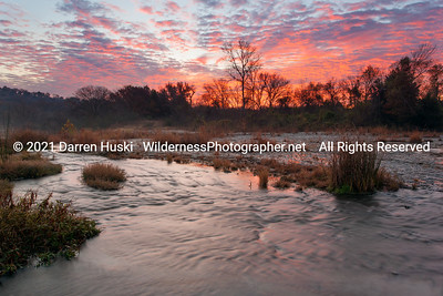 Sunrise over the West Fork of the Trinity River in Fort Worth.