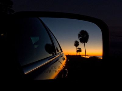 Sunset in the rear view mirror, Apalachicola, FL.