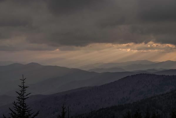Sun beams, Clingman's Dome, Smoky Mountain National Park