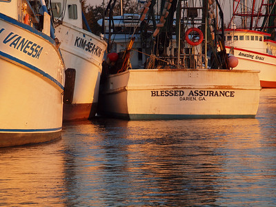 Sunset on the shrimp boats, Darien, GA.
