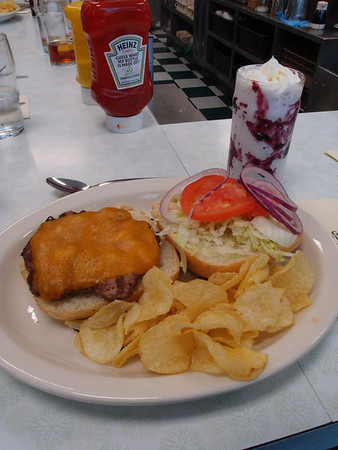 Buffalo Burger and a Huckleberry Shake, Pioneer Grill, Jackson Lake Lodge, WY.