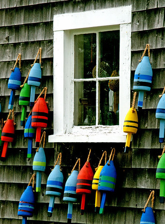 """Hanging Out"", lobster buoys, Stonington Harbor, Maine."