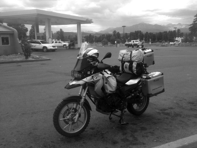Here's a little stop in Pagosa Springs, Co.  I also lubed the chain here.  Good thing because the rains were torrential not 20 minutes later.
