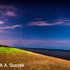 night shot, Lake Trail Motel beach, lake Huron