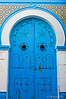 Blue decorative door in Sousse