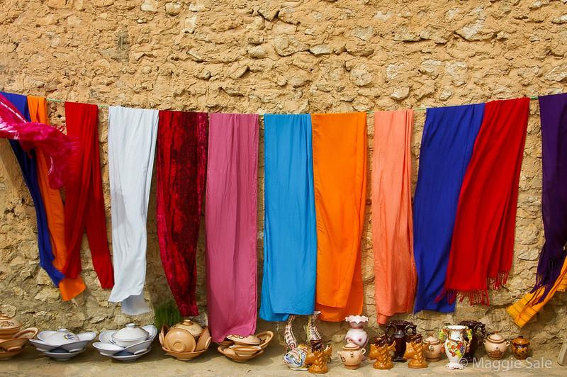 Colourful cloths in Sidi Bou Said