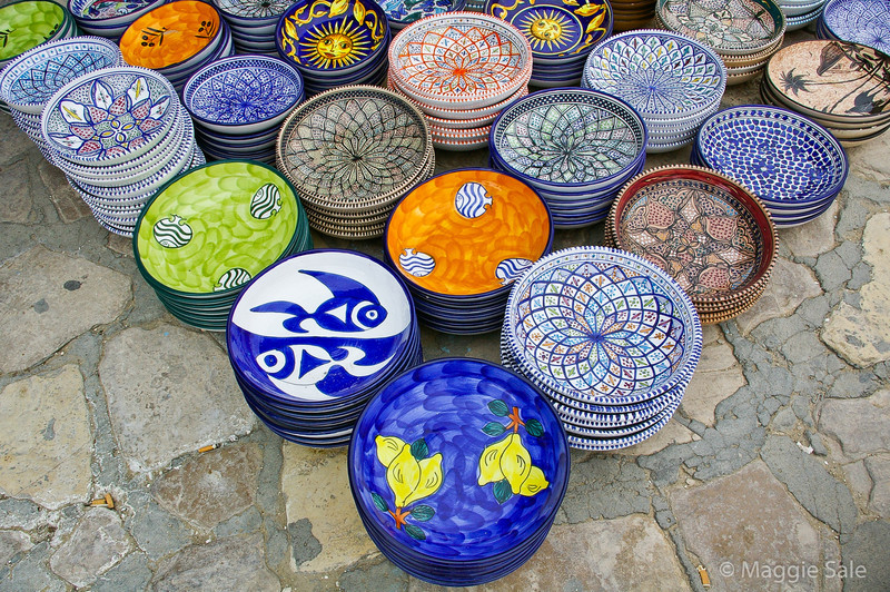 Pottery on display in Sousse