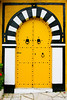 Black and white arched door in Sidi Bou Said