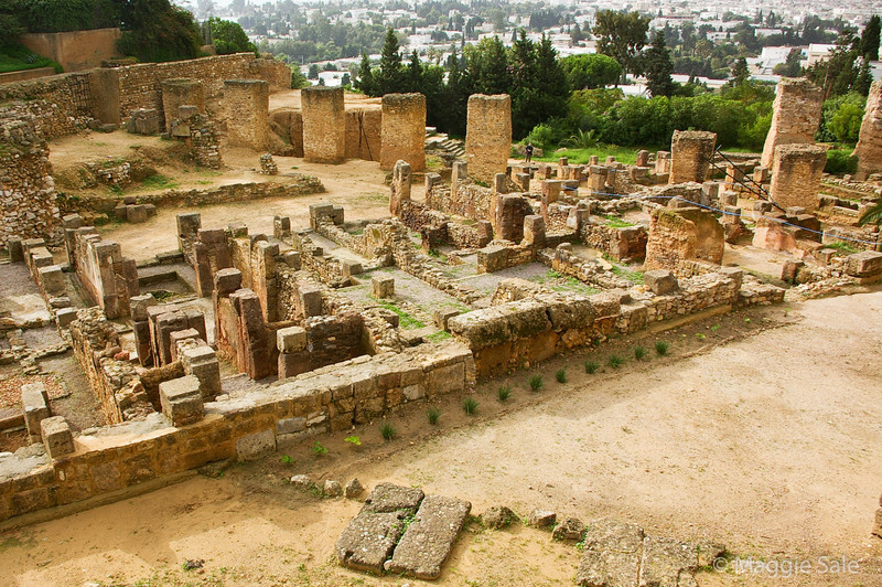 Pre Roman (Punic) houses at Carthage - Tunis in background