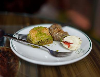 Baklava and Turkish Delight at Hafiz Mustafa Sekerlemeleri, Istanbul, Turkey