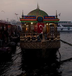 Balik ekmek (fish sandwich) boat, Bosphorus River, Istanbul, Turkey