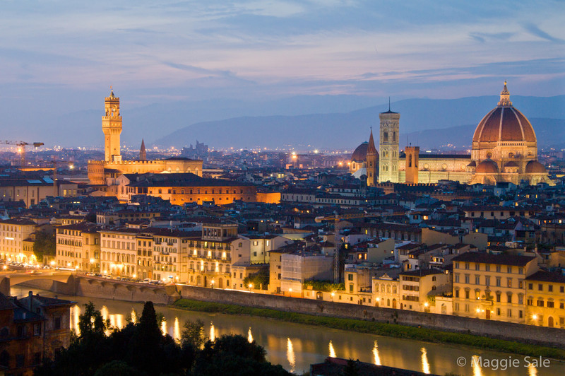 Duomo and Palazzo Vecchio at night, Florence